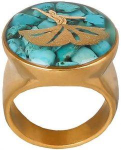 انگشتر فیروزه زنانه رکاب طلایی