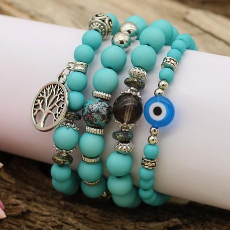 دستبند فیروزه ای دخترانه